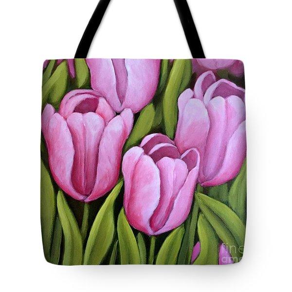 Pink Spring Tulips Tote Bag