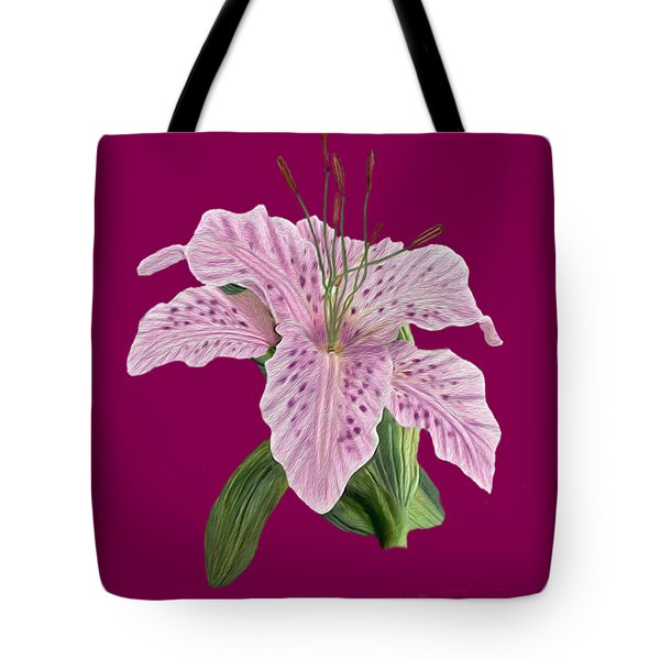 Tote Bag featuring the digital art Pink Tiger Lily Blossom by Walter Colvin
