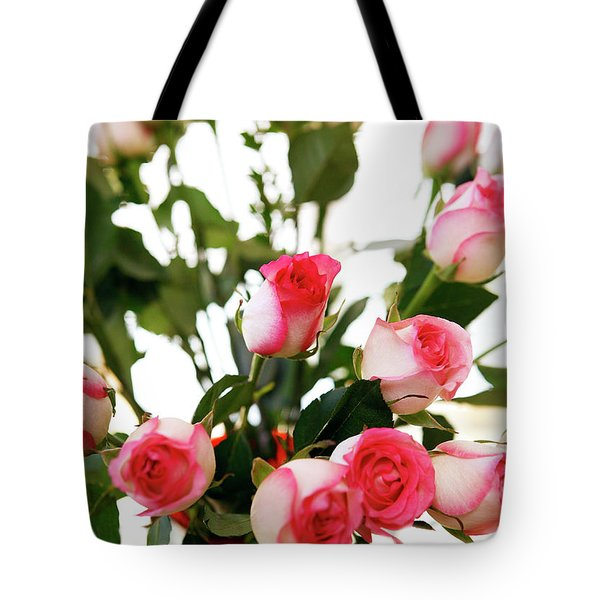 Pink Trimmed Roses Tote Bag by Marilyn Hunt