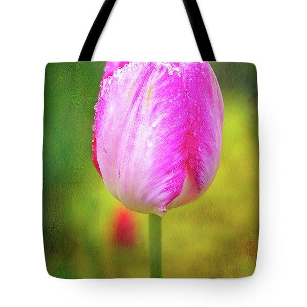 Pink Tulip In The Rain Tote Bag