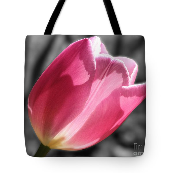 Pink Tulip On Black And White Tote Bag