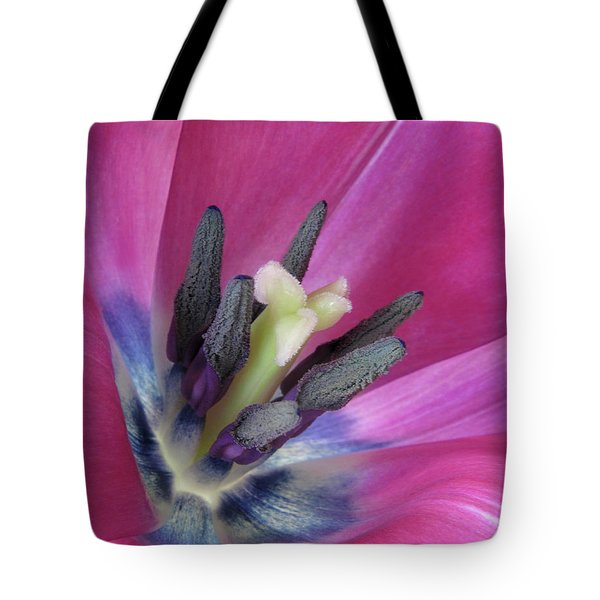 Tote Bag featuring the photograph Pink Tulip Stamens by David and Carol Kelly
