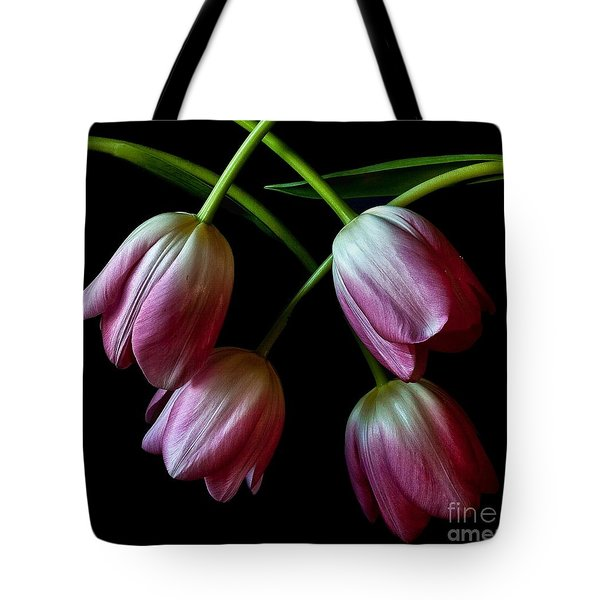 Tote Bag featuring the photograph Pink Tulip Weave by Shirley Mangini