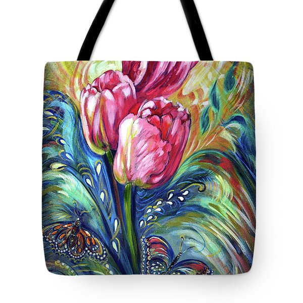 Pink Tulips And Butterflies Tote Bag by Harsh Malik