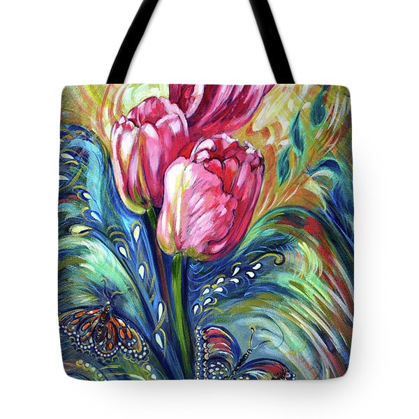 Pink Tulips And Butterflies Tote Bag