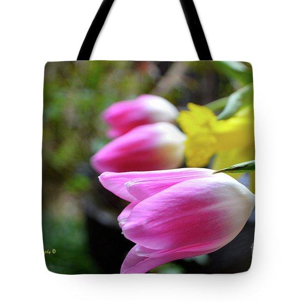 Pink Tulips Row Tote Bag