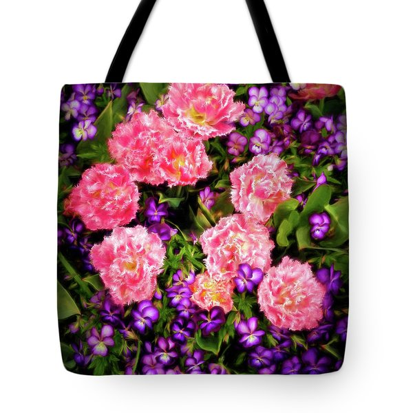 Pink Tulips With Purple Flowers Tote Bag by James Steele