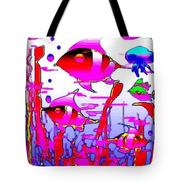 Tote Bag featuring the digital art Pink Underwater by Rae Chichilnitsky