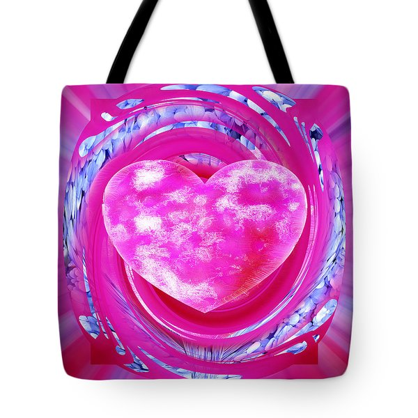 Pink Valentine Heart Tote Bag by rd Erickson