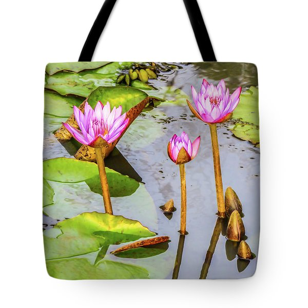 Pink Water Lilies In A Pond Tote Bag