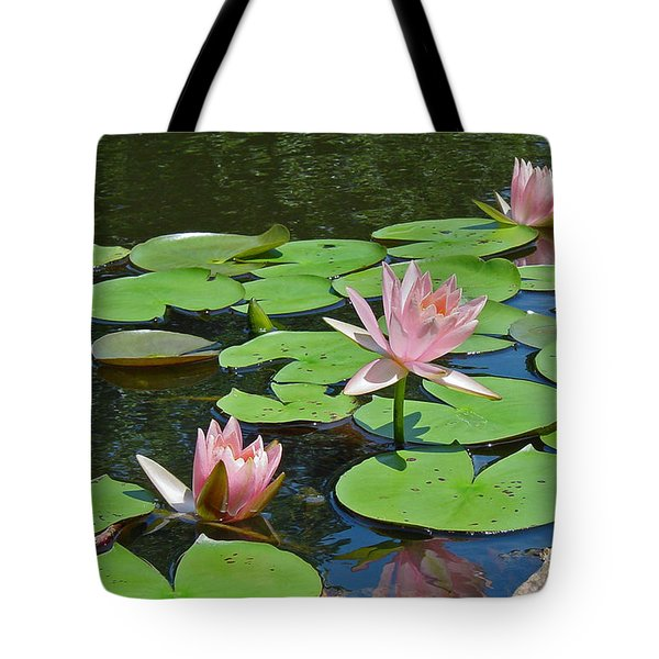 Pink Water Lilies Tote Bag by Suzanne Gaff