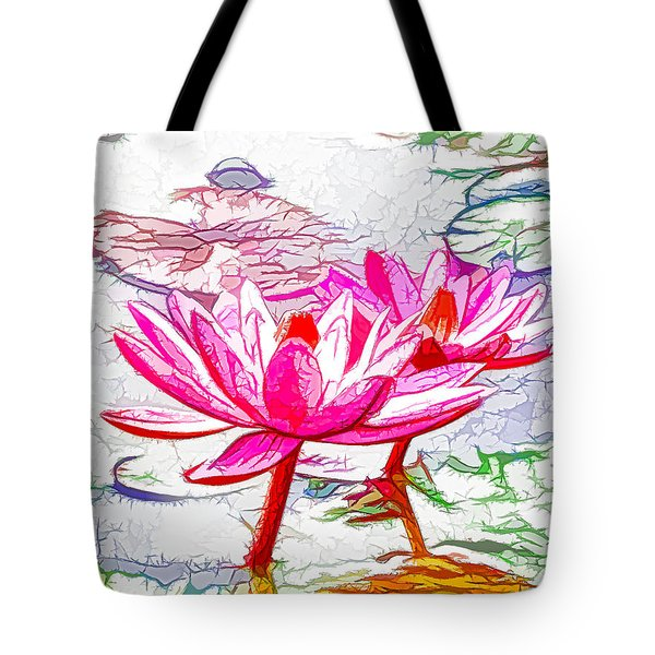 Pink Water Lily Flowers Blooming On Pond Tote Bag by Lanjee Chee