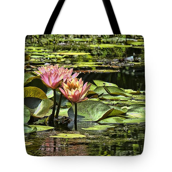 Tote Bag featuring the photograph Pink Water Lily Reflections by Bill Barber