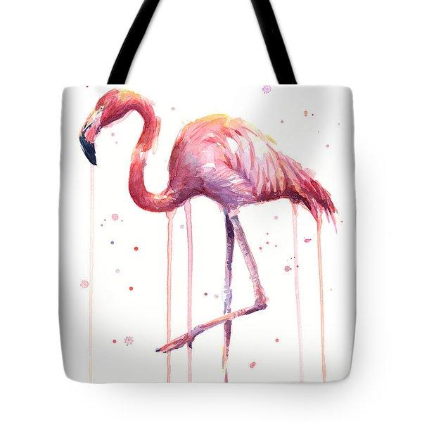 Pink Watercolor Flamingo Tote Bag