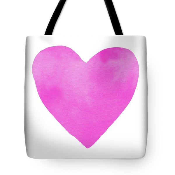 Tote Bag featuring the mixed media Pink Watercolor Heart- Art By Linda Woods by Linda Woods