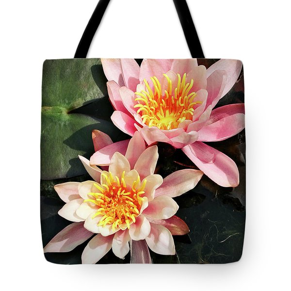Pink Waterlilies Close Up Tote Bag