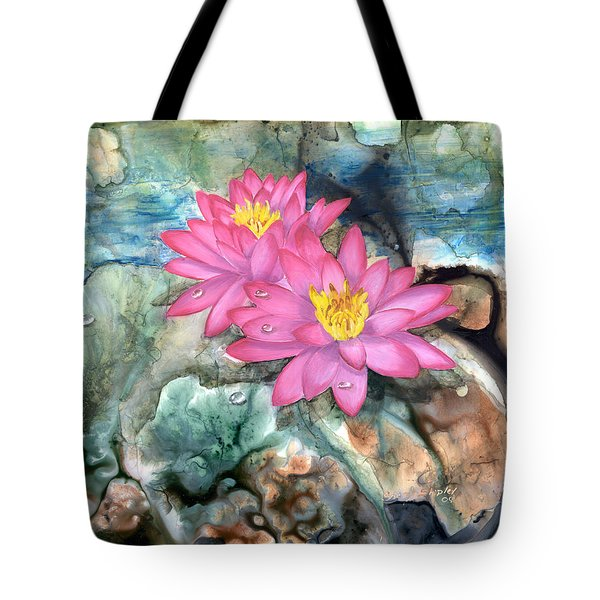 Tote Bag featuring the painting Pink Waterlily by Sherry Shipley