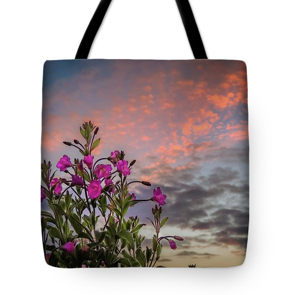 Tote Bag featuring the photograph Pink Wildflowers At Sunset by James Truett