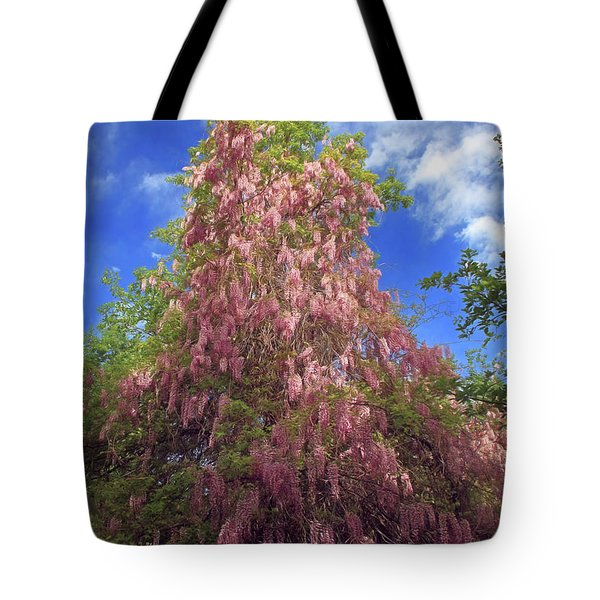 Tote Bag featuring the photograph Pink Wisteria by Donna Kennedy