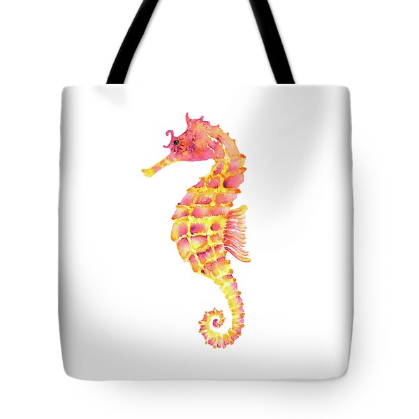 Pink Yellow Seahorse - Square Tote Bag by Amy Kirkpatrick