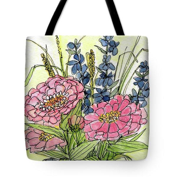 Pink Zinneas Tote Bag
