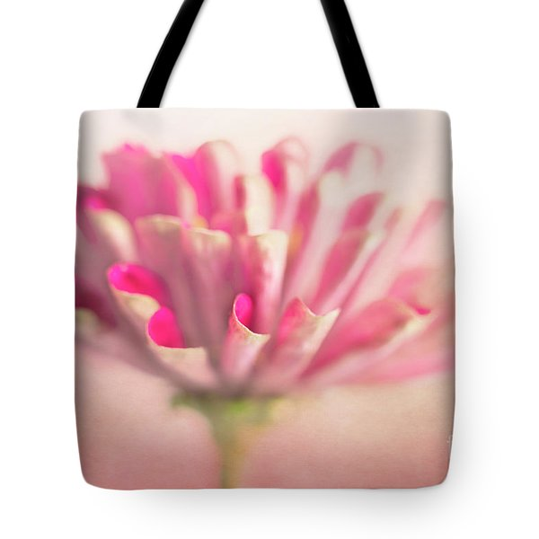 Tote Bag featuring the photograph Pink Zinnia by Elena Nosyreva