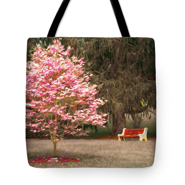 Pinky And The Bench - Impressionism Tote Bag