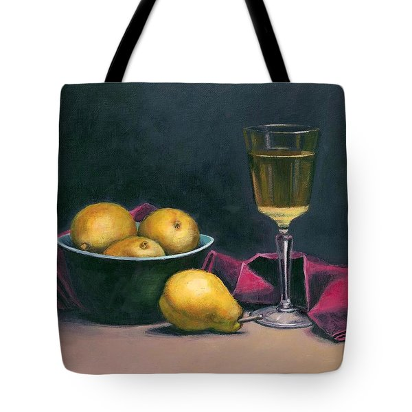Pinot And Pears Still Life Tote Bag by Janet King