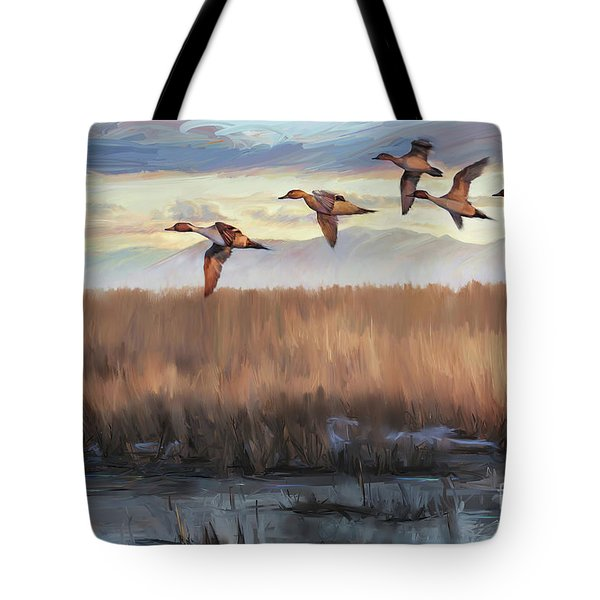 Pintail Fly By Tote Bag by Rob Corsetti