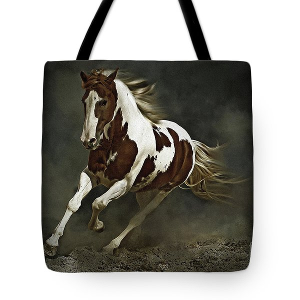 Pinto Horse In Motion Tote Bag