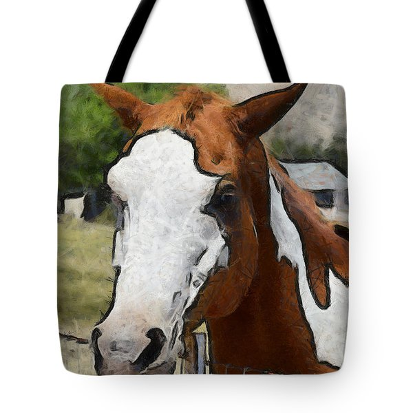 Tote Bag featuring the photograph Pinto In The Pasture Portrait  by Barbara Snyder