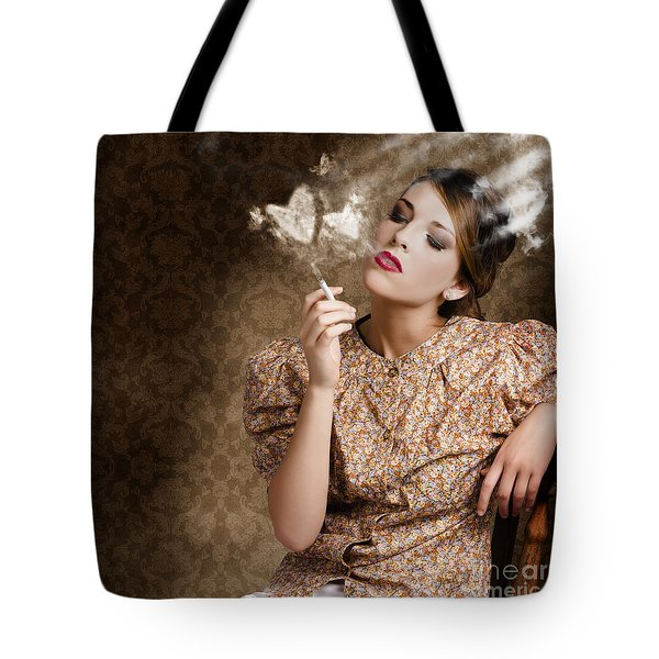 Pinup Portrait Of A Smoking Woman Blowing Hearts Tote Bag