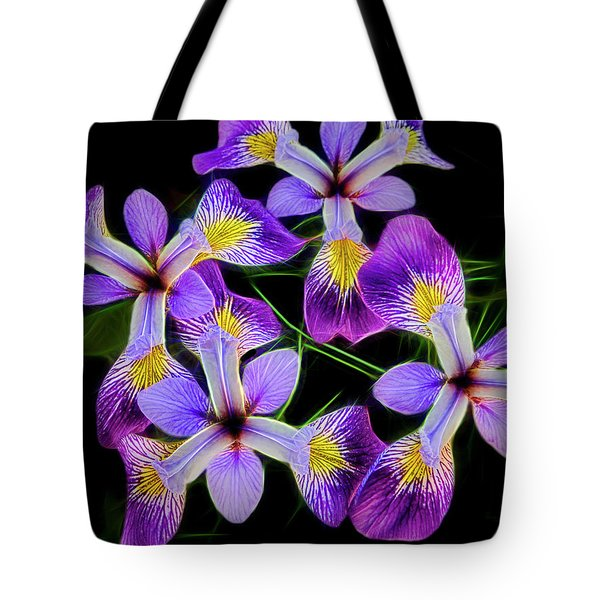 Tote Bag featuring the photograph Pinwheel Purple Iris Glow by Penny Lisowski