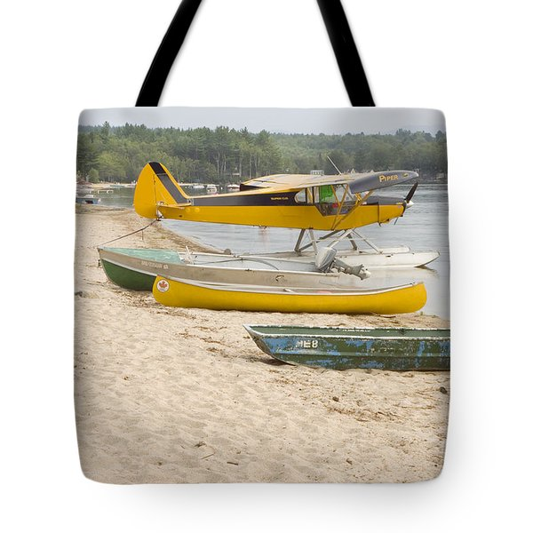Piper Super Cub Floatplane Near Pond In Maine Canvas Poster Print Tote Bag