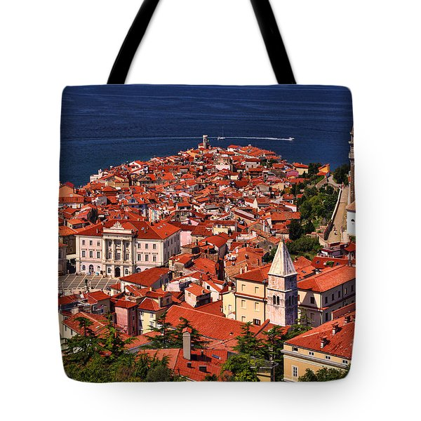 Piran From The Castle Wall Tote Bag by Graham Hawcroft pixsellpix