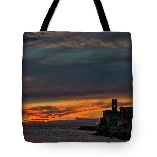 Tote Bag featuring the photograph Piran Slovenia Sunset #2 by Stuart Litoff