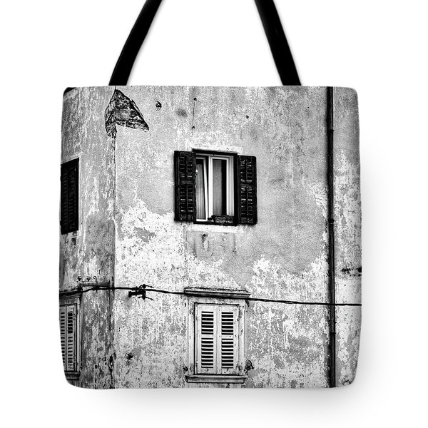 Tote Bag featuring the photograph Piran Windows - Slovenia by Stuart Litoff