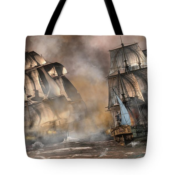 Pirate Battle Tote Bag by Daniel Eskridge