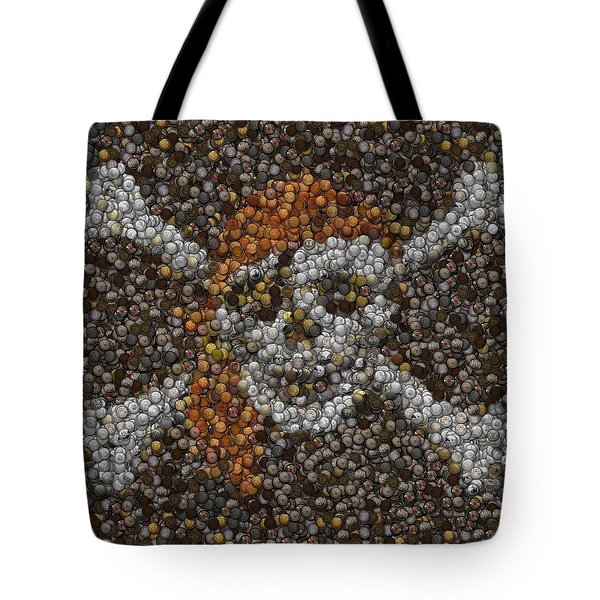 Tote Bag featuring the digital art Pirate Coins Mosaic by Paul Van Scott