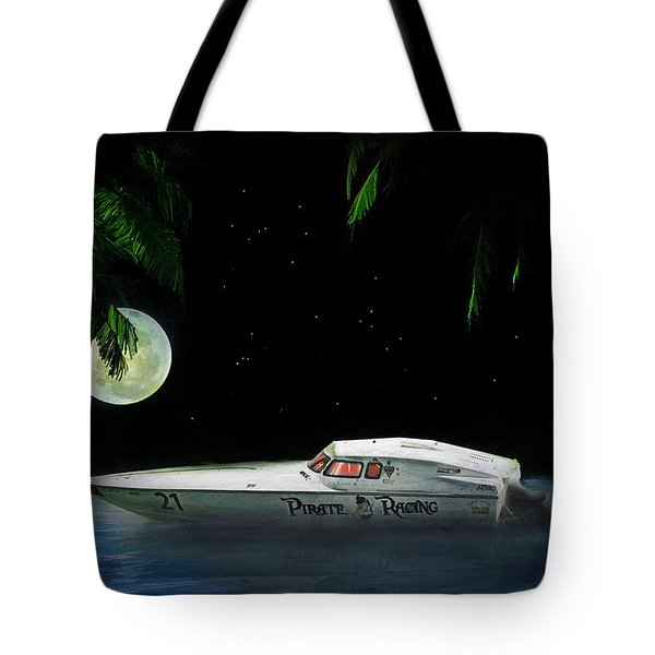 Pirate Racing Tote Bag by Michael Cleere