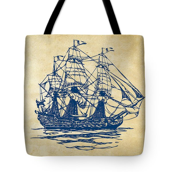 Pirate Ship Artwork - Vintage Tote Bag