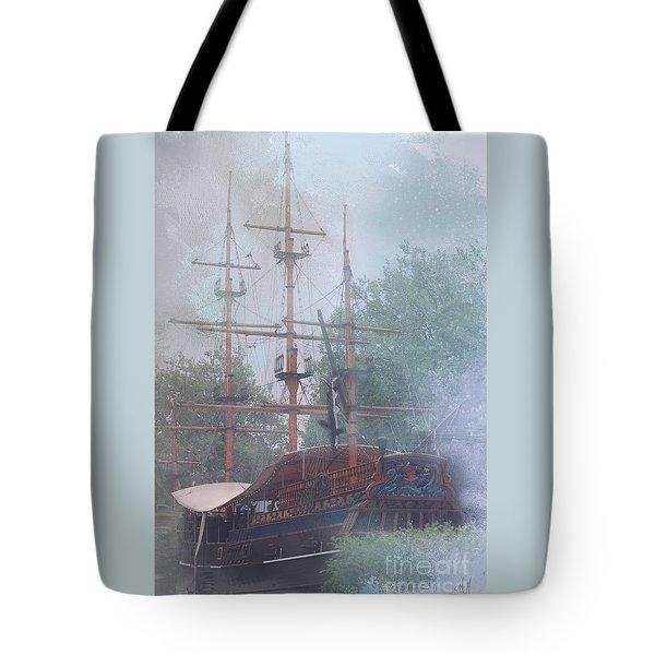 Pirate Ship Hiding In Cove Tote Bag