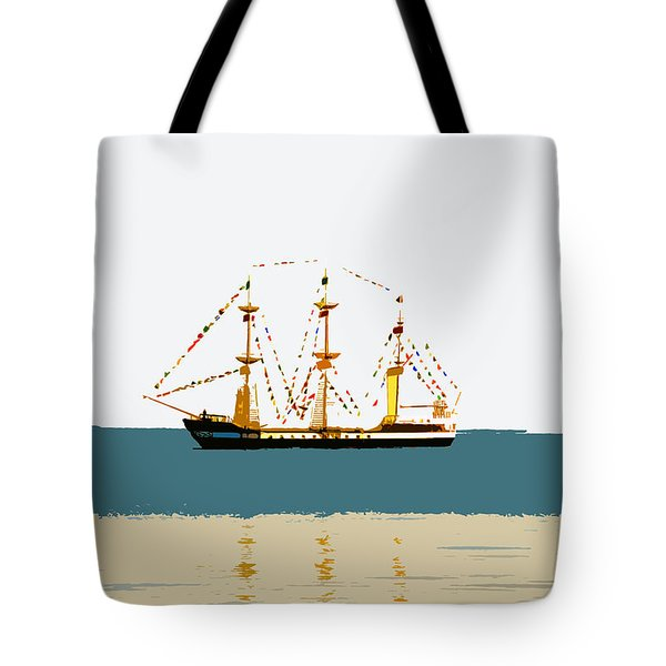Pirate Ship On The Horizon Tote Bag by David Lee Thompson