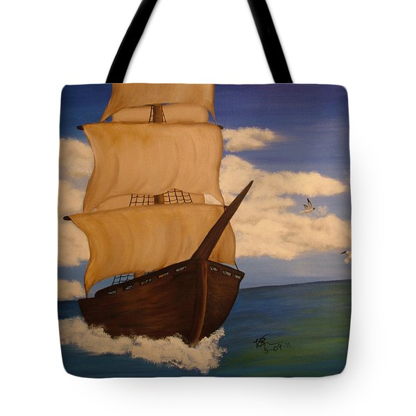 Pirate Ship With Gulls Tote Bag by Vickie Roche