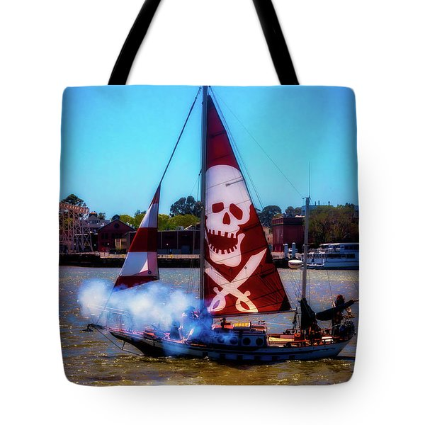 Pirate Ship With Red Skull Sail Tote Bag