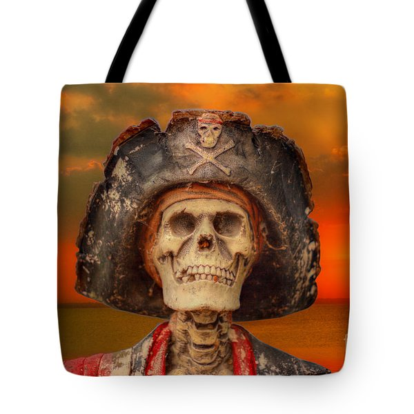 Pirate Skeleton Sunset Tote Bag