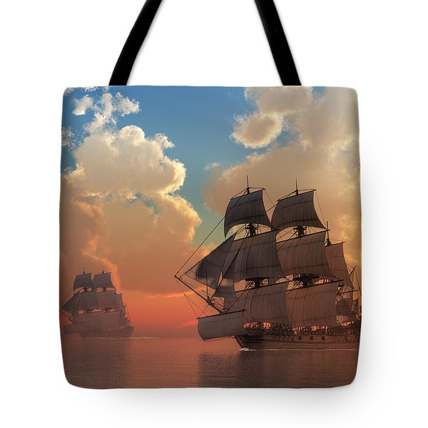 Pirate Sunset Tote Bag by Daniel Eskridge
