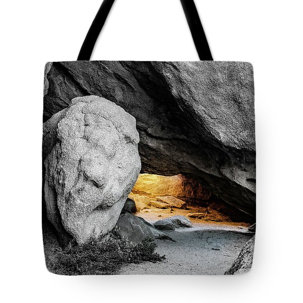 Pirate's Cave, Black And White And Gold Tote Bag