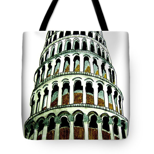 Tote Bag featuring the drawing Pisa Erected by Patricia Arroyo