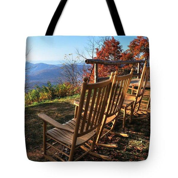 Pisgah Inn's Rocking Chairs Tote Bag